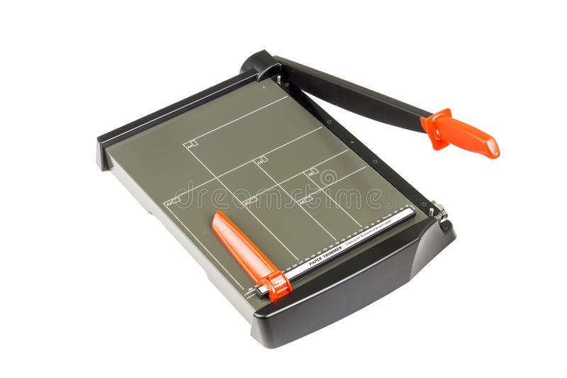 Paper trimmer on white. Background royalty free stock image