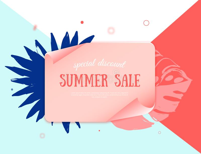 Paper tropical banner with Hot summer sale design element. Vector illustration template. Special promotion label. royalty free illustration