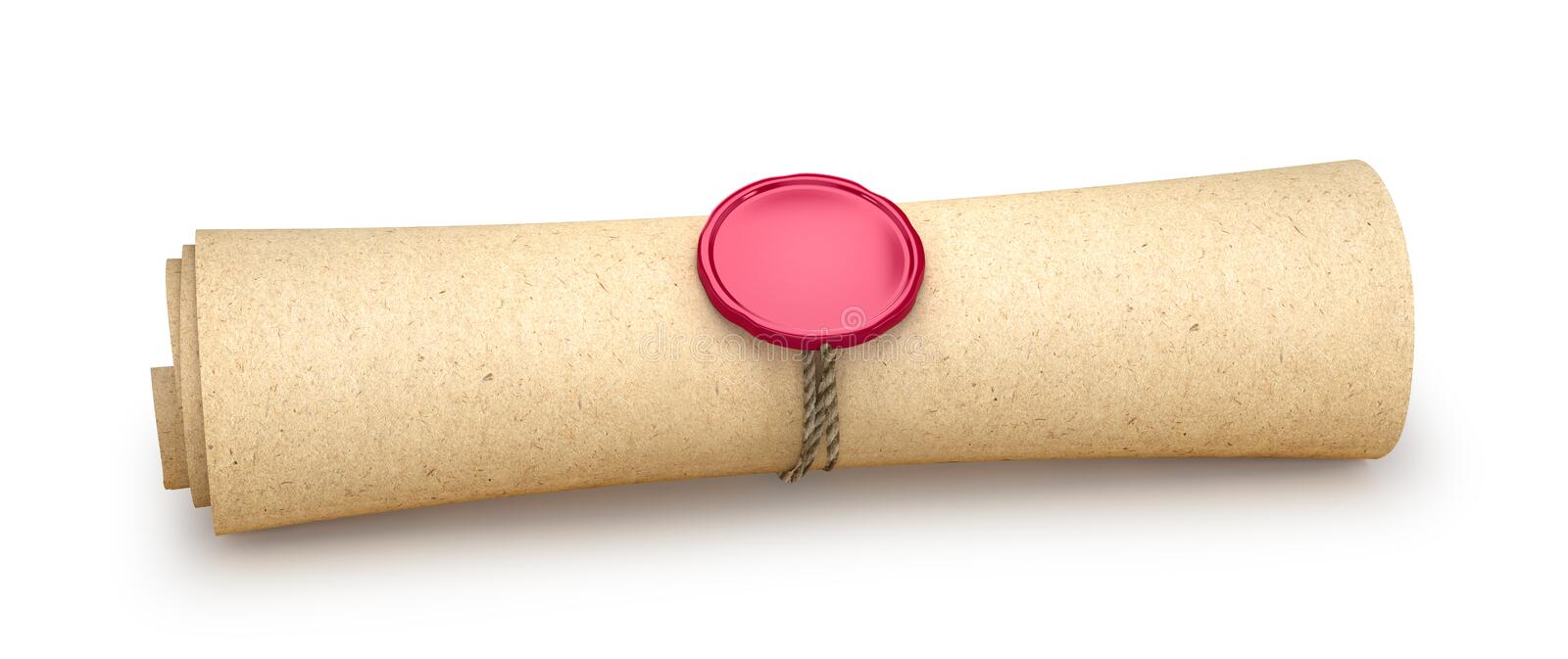 Paper is twisted into a roll and sealed with a seal isolated on white. 3d. Illustrations royalty free stock image
