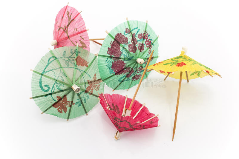 Paper umbrellas for dessert royalty free stock photography