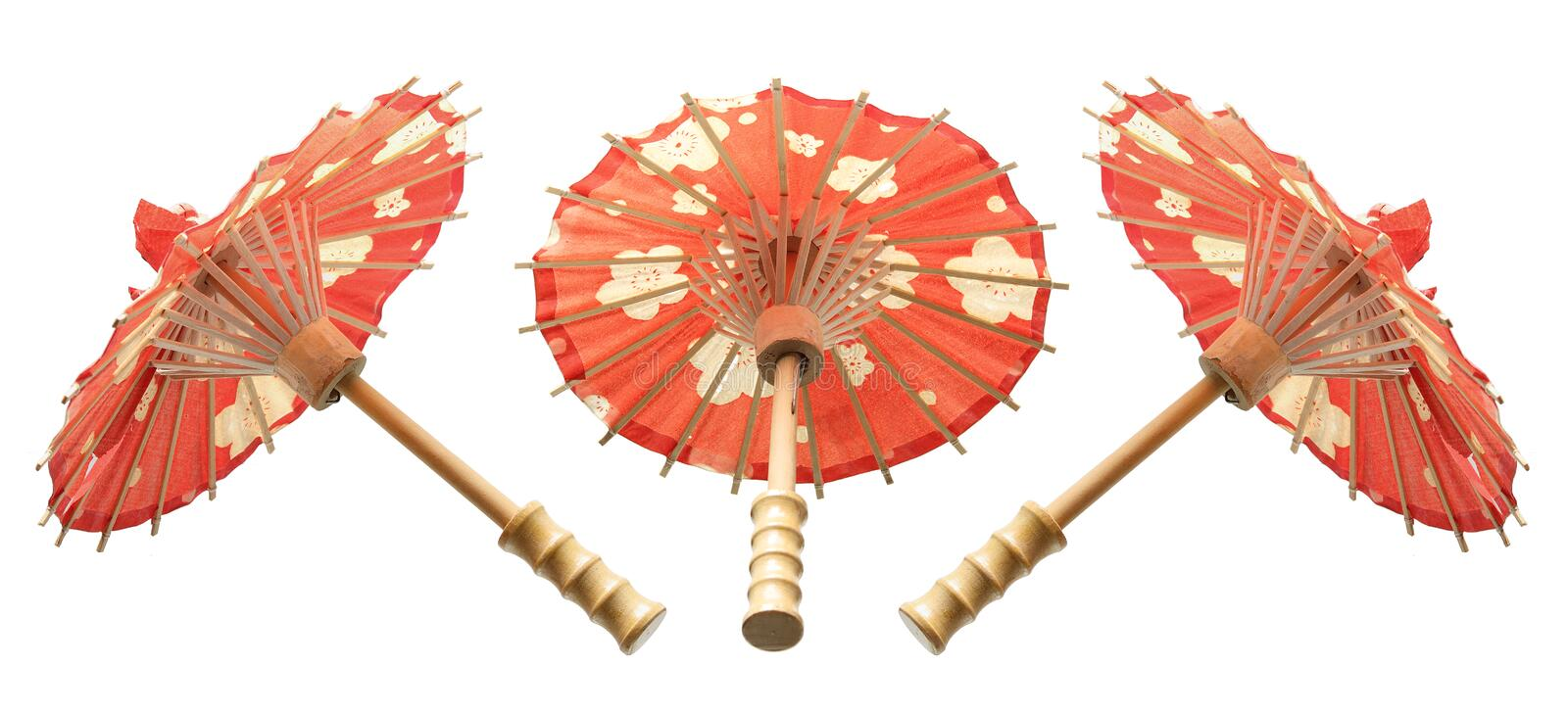 Paper Umbrellas. On Isolated White Background royalty free stock image