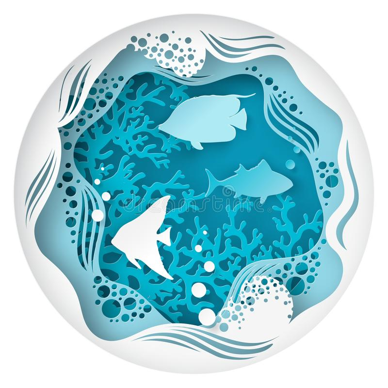 Paper underwater sea cave with fishes, coral reef. Seabed in algae, bubbles and waves. Paper cut deep style vector. Deep blue marine life, diving concept vector illustration