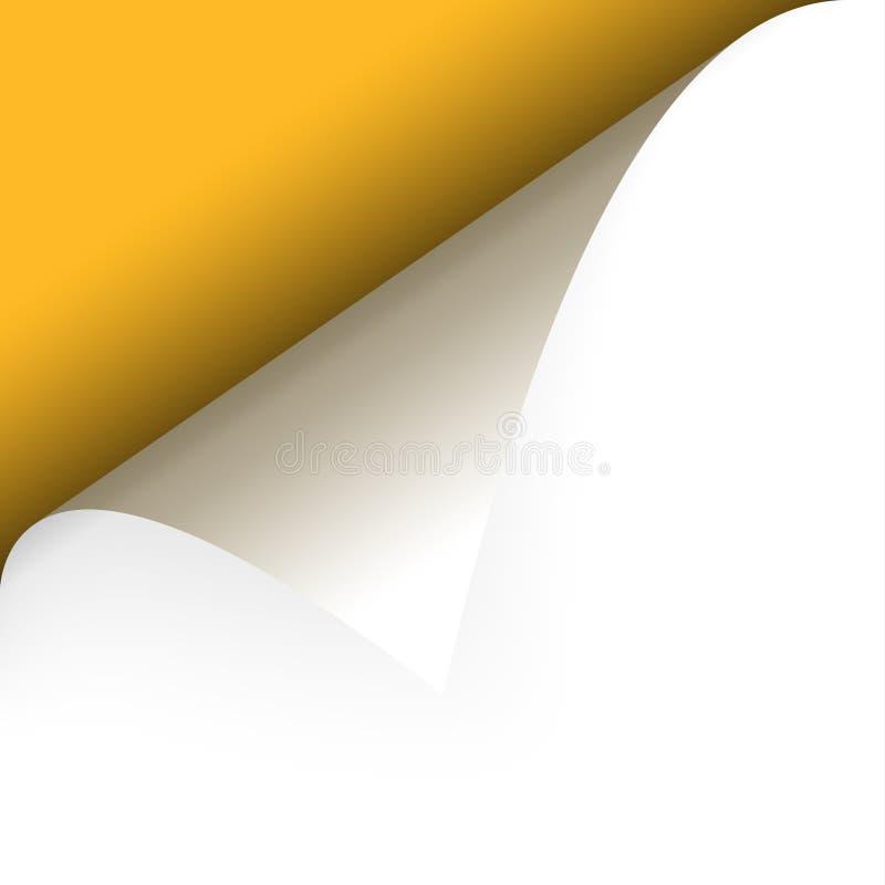 Paper upper left corner. Turn over Paper upper left corner with yellow background vector illustration