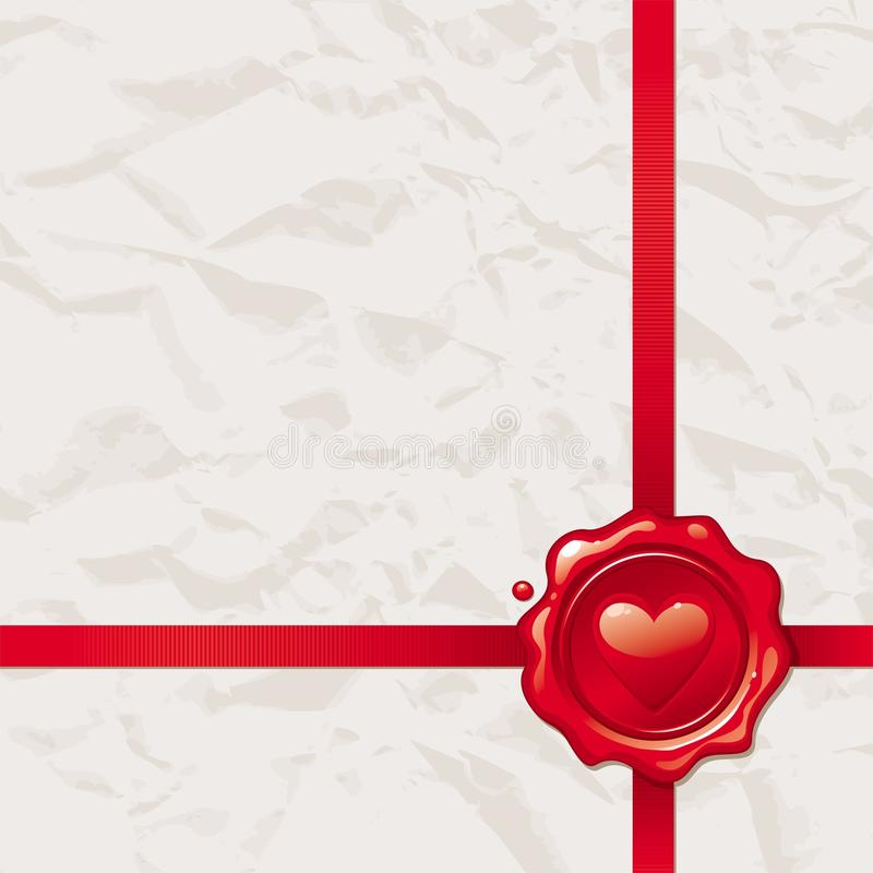 Paper with Valentines wax seal stock illustration
