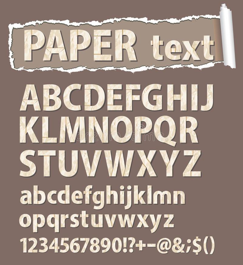 Paper vector font. Letters, numbers and orthograph vector illustration