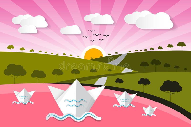Paper Vector Nature Background with Lake. Trees, Clouds stock illustration