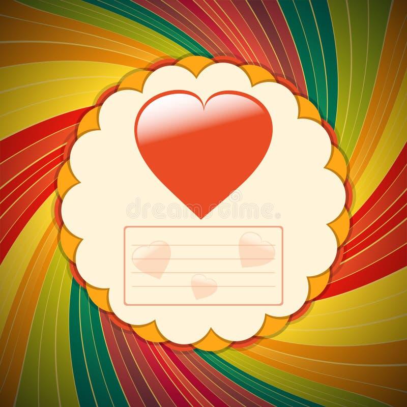 Download Paper Vintage Valentine Card With Hearts Stock Illustration - Image: 83716643