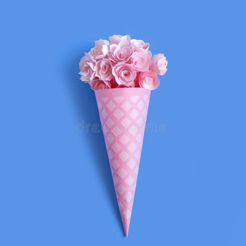 Paper waffle cone with flowers stock images