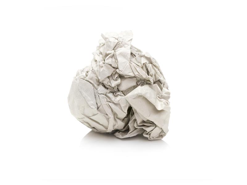 Paper was crumpled, it`s looks lumpy on white background royalty free stock photos