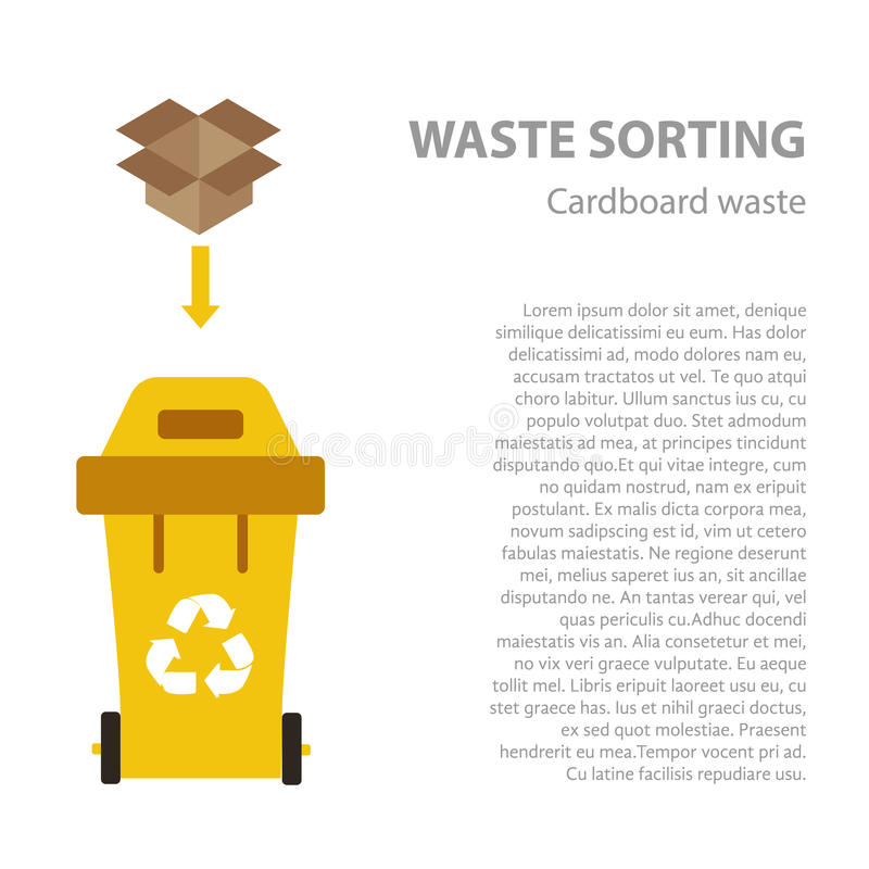 Paper waste sorting flat concept. Vector illustration of paper waste. Paper waste recycling categories and garbage disposal. Paper waste types sorting stock illustration