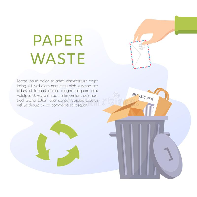 Paper waste vector illustration. Office and home stuff - sheets, newspaper, package, cardboard box, envelope. Recycling ecology problem isolate on white stock illustration