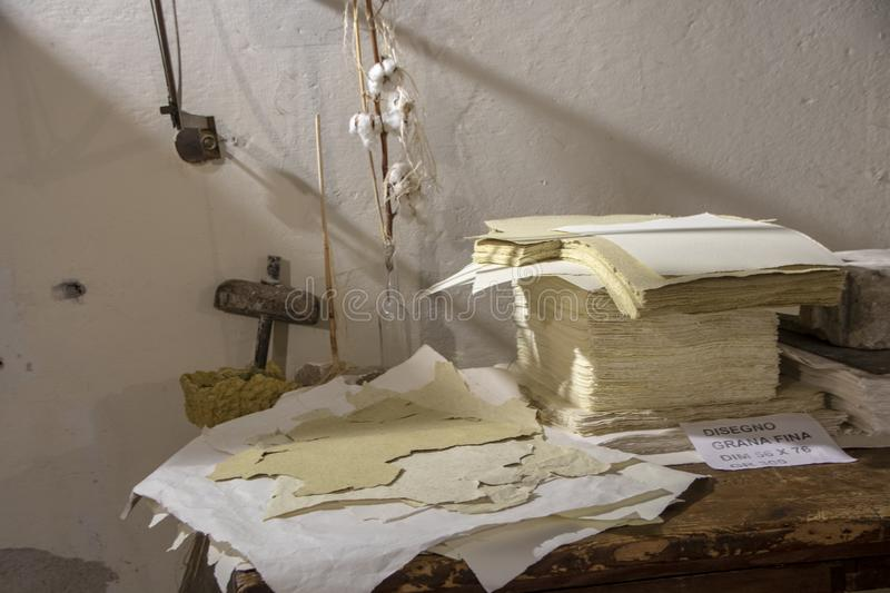 Paper and Watermark Museum. Fabriano - Italy - On april 2019 - Paper and Watermark Museum royalty free stock image