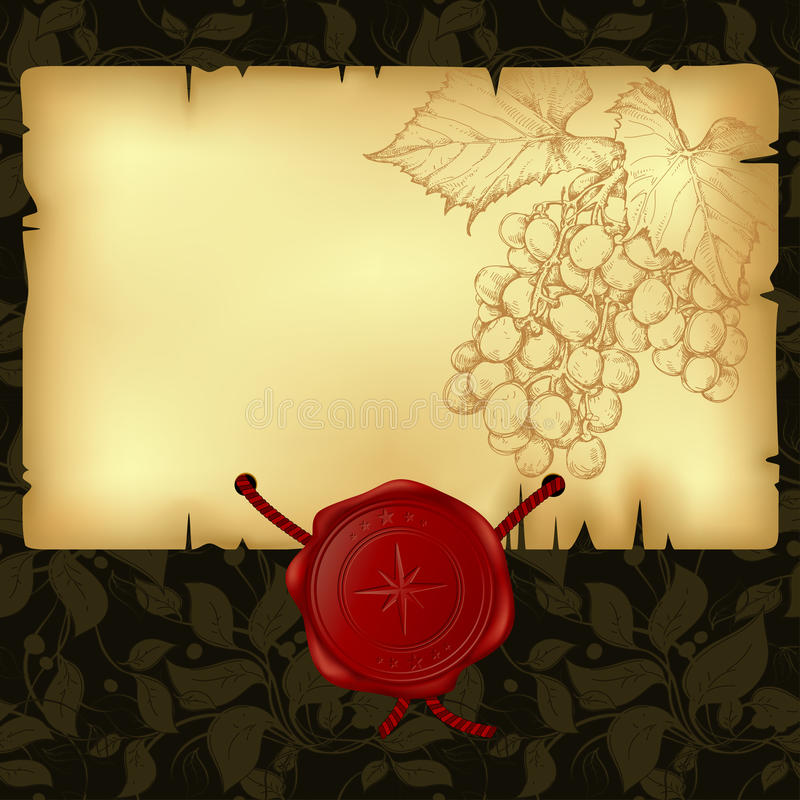 Paper with wax seal. Paper with branch of grapevine and wax seal, this illustration may be useful as designer work stock illustration