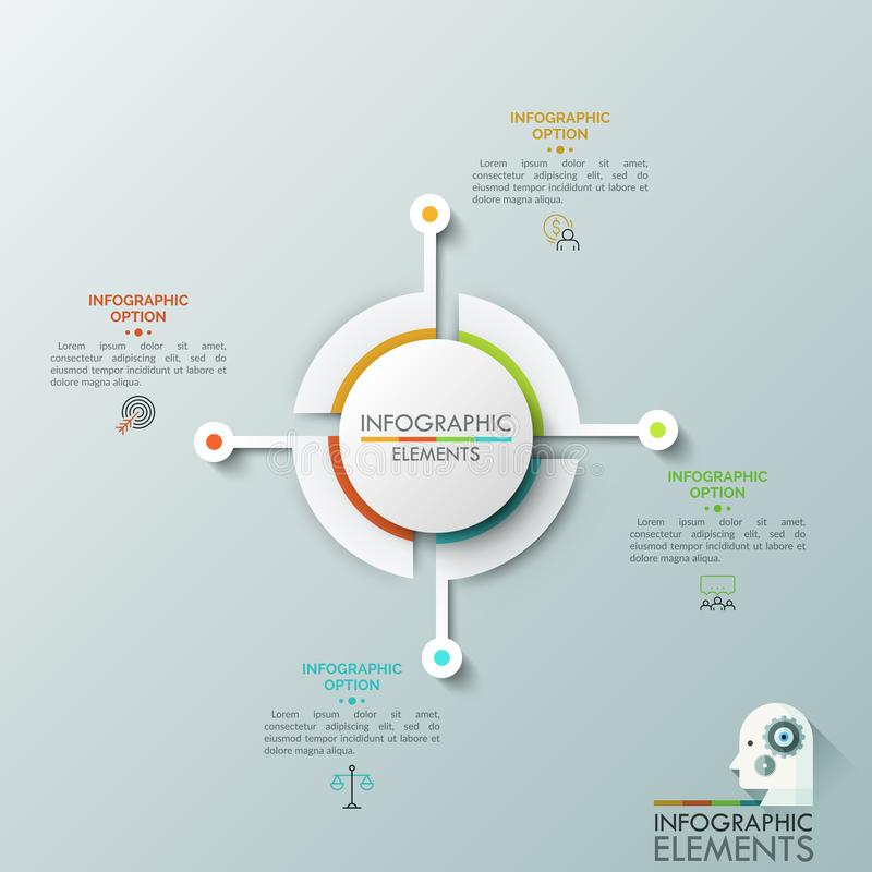 Paper white circular diagram divided into 4 equal parts connected with thin line icons and text boxes. Visualization of vector illustration