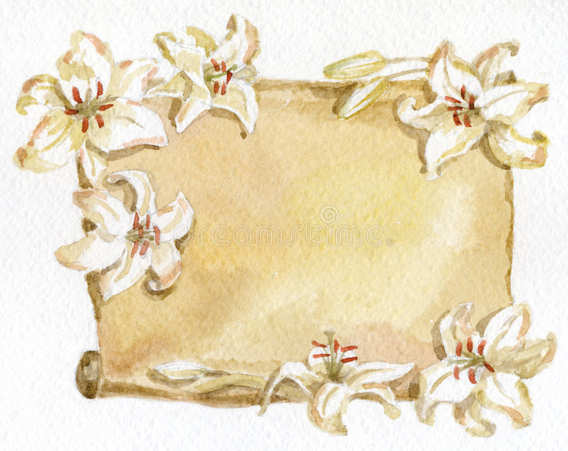 Download Paper and white lilies stock illustration. Illustration of sepia - 3096207