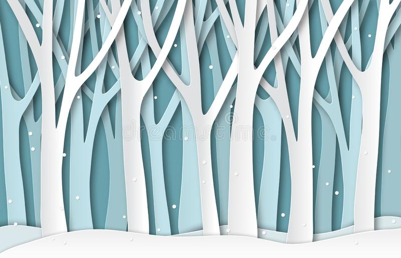 Paper winter forest. White frozen trees silhouettes, christmas season natural paper cut landscape. 3d origami vector vector illustration