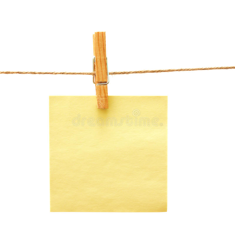 Free Paper With Clothes Peg Over White Royalty Free Stock Images - 13523069