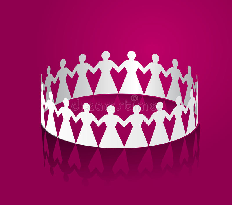 Paper women holding hands in the shape of a circle. royalty free illustration