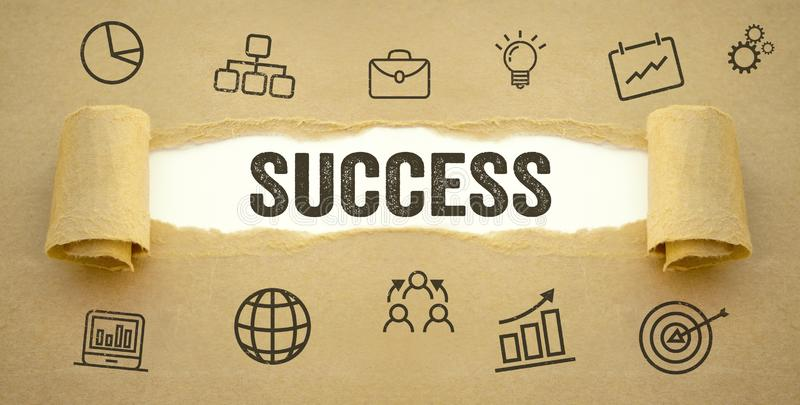 Paper work with business icon symbols and success stock image