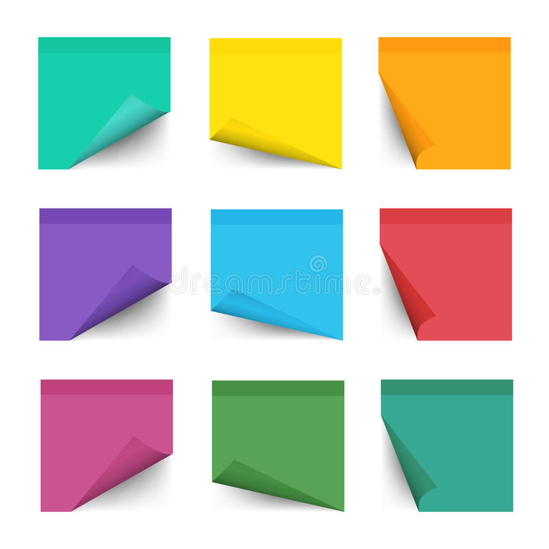 Paper work notes isolated on white background. Sticky note for noticeboard with curled corners vector illustration royalty free illustration