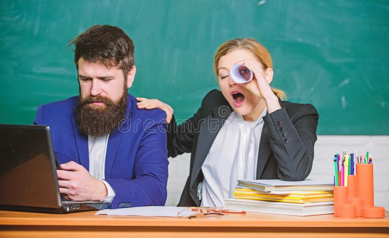 Paper work. office life. back to school. Non-formal education. teacher and student on exam. businessman and secretary stock image