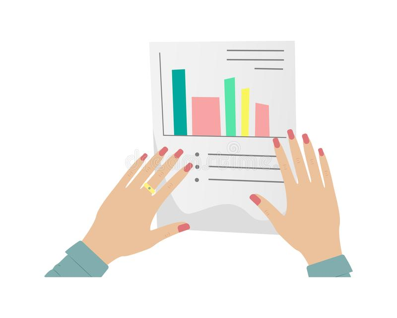 Paper work, tax return, questionnaire. Women`s hands with red manicure holding a paper document. Woman entrepreneur stock illustration