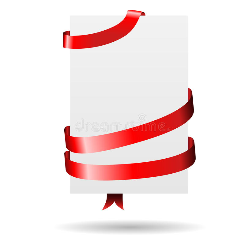Paper wrapped with red ribbon