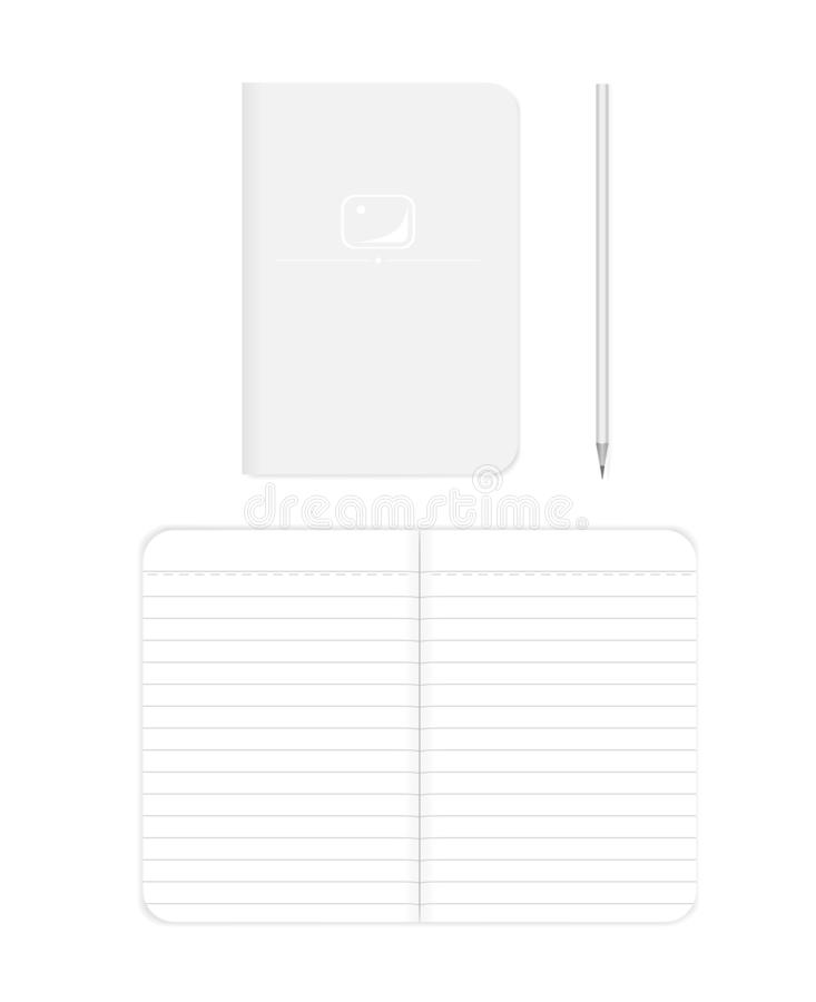 Paperback B7 notepad - spread and front cover, vector mockup royalty free illustration