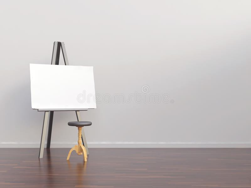 Paperboard to face a blank wall stock illustration