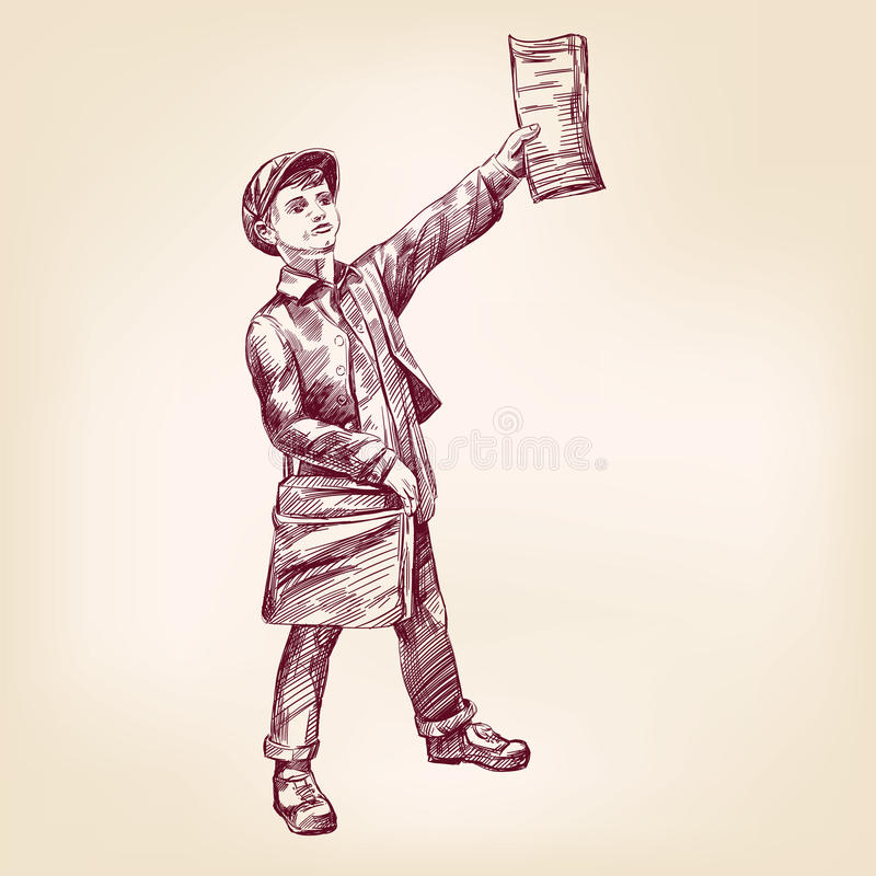 Paperboy selling news papers vector llustration. Paperboy selling news papers hand drawn vector llustration realistic sketch stock illustration