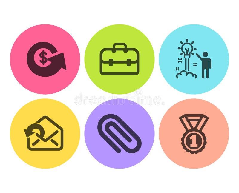 Paperclip, Portefeuille en Dollar geplaatste uitwisselingspictogrammen Verzend post, Creatief idee en Beste weelderige tekens Vec stock illustratie