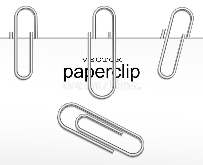 Paperclip set. Vector illustration of realistic paperclip set stock illustration
