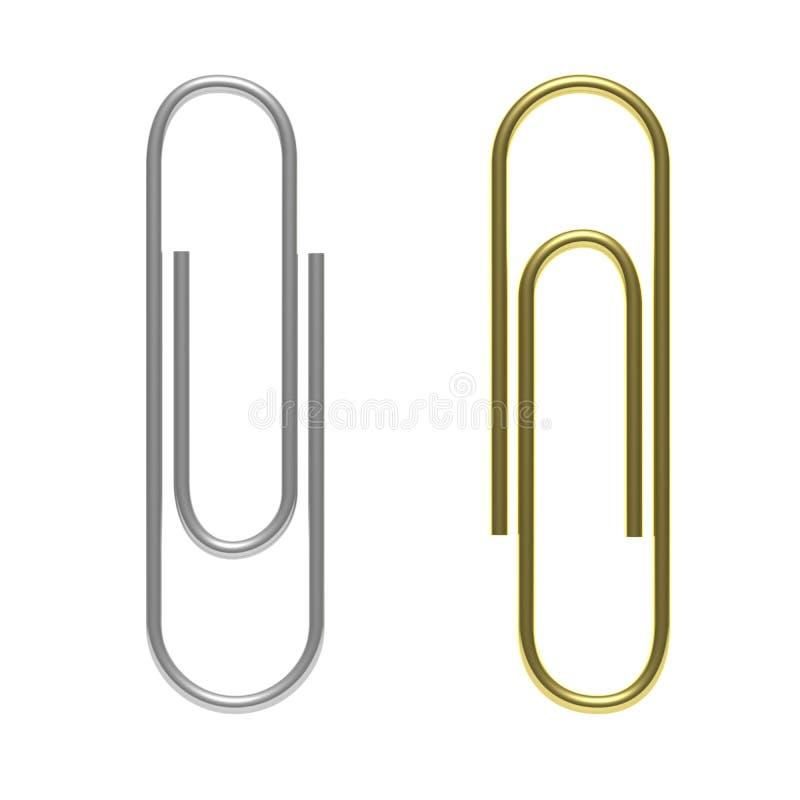 Paperclips серебр и изолированное золото, вырез, на белой предпосылке иллюстрация 3d иллюстрация вектора