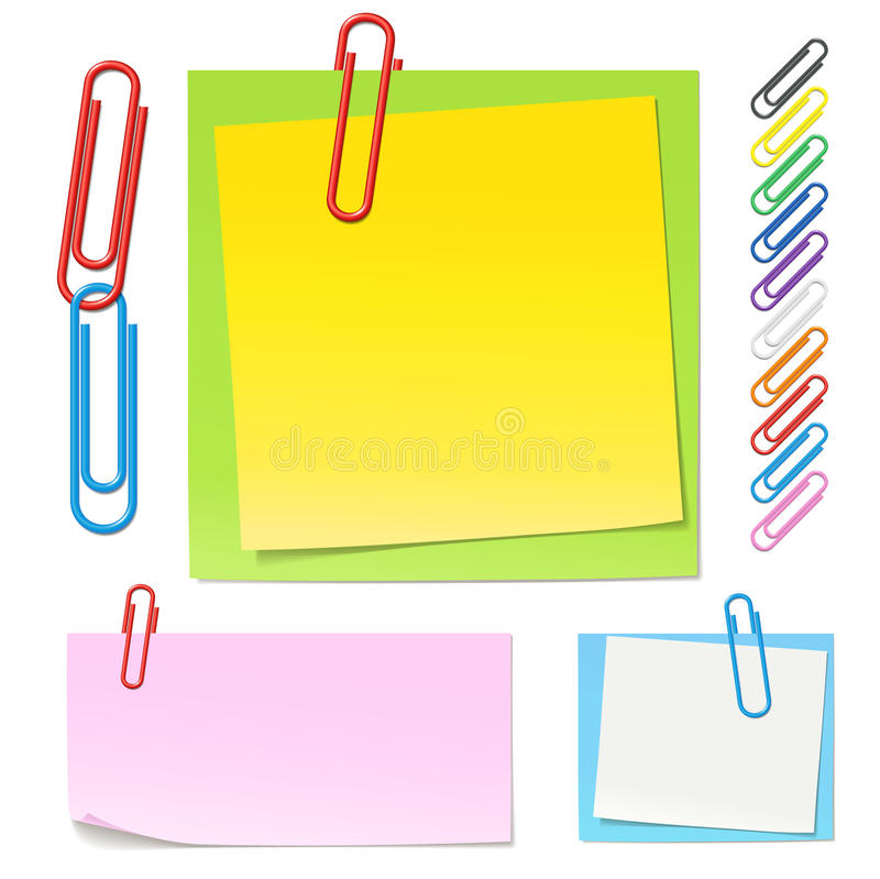Paperclips and color notes royalty free stock photo