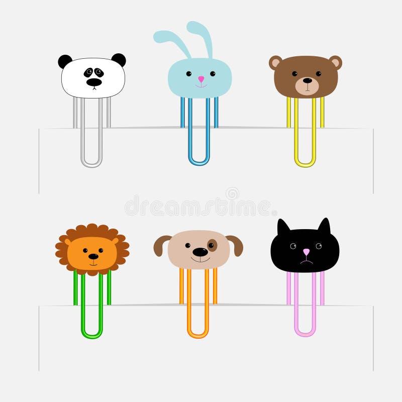 Paperclips fijados con las cabezas animales Panda, rabit, perro, gato, león, oso Diseño plano ilustración del vector
