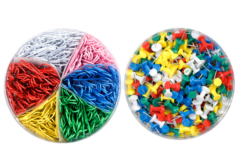 Paperclips and push pins stock image. Image of tools ...