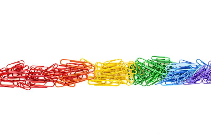 Paperclips in rainbow colors stock image