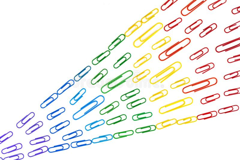 Paperclips in rainbow colors royalty free stock images