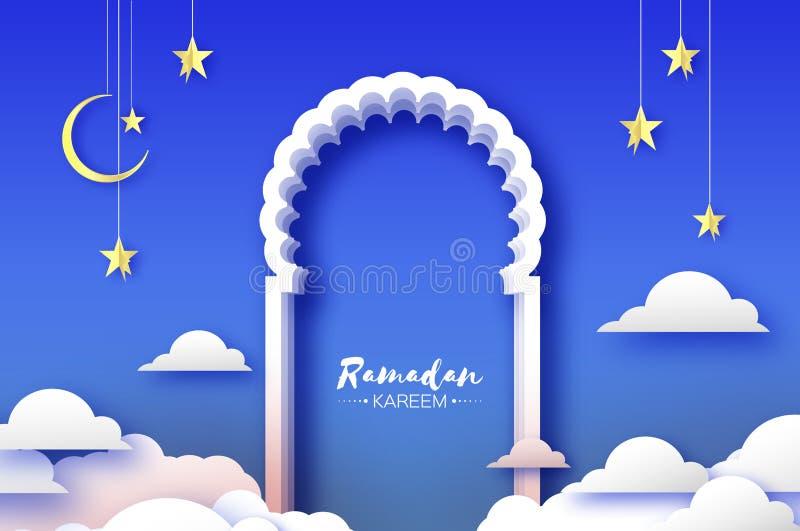 阿拉伯窗口在papercraft样式成拱形 Origami斋月Kareem贺卡 新月形月亮和星 圣洁月  皇族释放例证