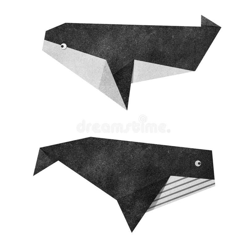 Papercraft reciclado ballena de Origami stock de ilustración