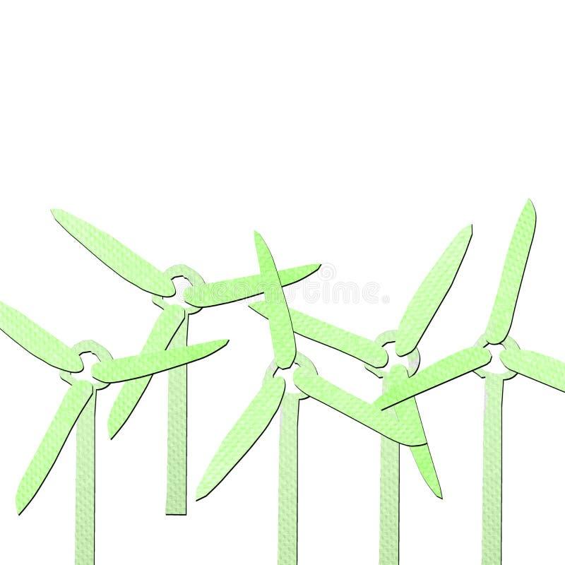 Papercraft vert de tissu de générateur de vent illustration de vecteur