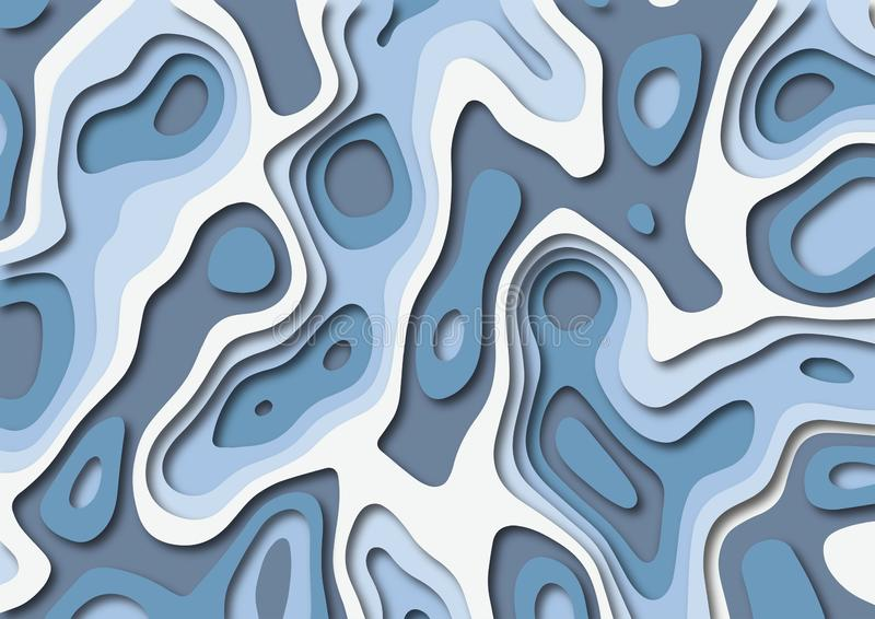 Papercut abstract background in shades of blue. Papercut design of topographic waves and holes. 3D Abstract vector background in shades of blue. EPS10 vector royalty free illustration