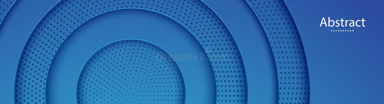 Papercut abstract circle blue shape and dots background. Layered backdrop with round form paper and shadow. Horizontal. Vector web banner for creative royalty free illustration