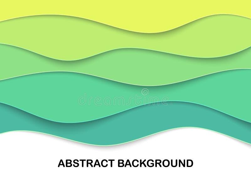 Papercut acodado talla el contexto 3D Tarjeta ondulada verde Disposición de Eco para el artículo, jefe Arte acodado Lugar del tex ilustración del vector