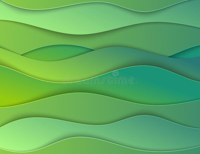 Papercut acodado talla el contexto 3D Tarjeta ondulada verde Disposición de Eco para el artículo, jefe Arte acodado Lugar del tex stock de ilustración