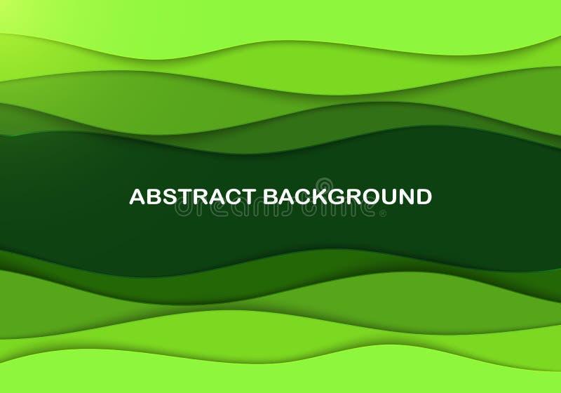 Papercut acodado talla el contexto 3D Tarjeta ondulada verde Disposici?n de Eco para el art?culo, jefe Arte acodado Lugar del tex ilustración del vector