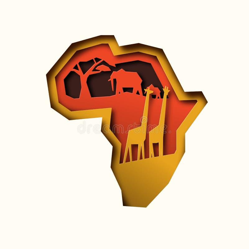 Papercut Africa kontynentu mapa z zwierzętami royalty ilustracja