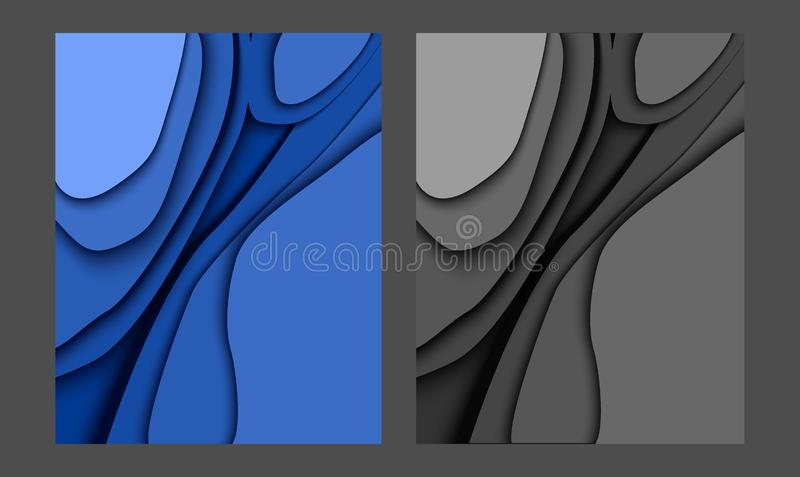 papercut blauwe moderne achtergrond 2019 vector illustratie