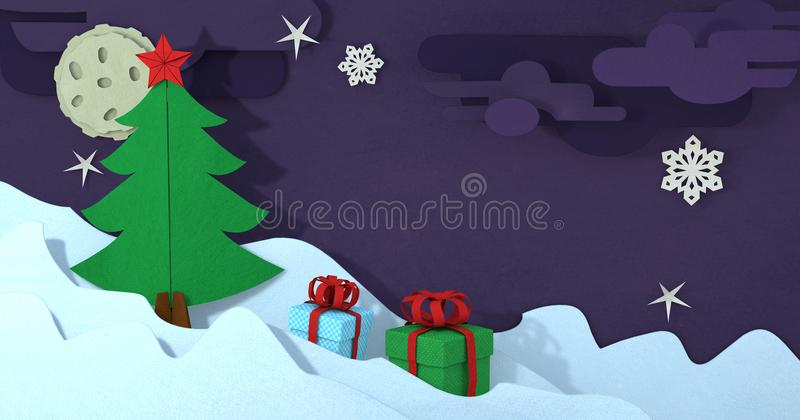 Papercut christmas greeting card. Paper craft christmas background. Cutout winter christmas landscape. Paper art 3D illustration vector illustration