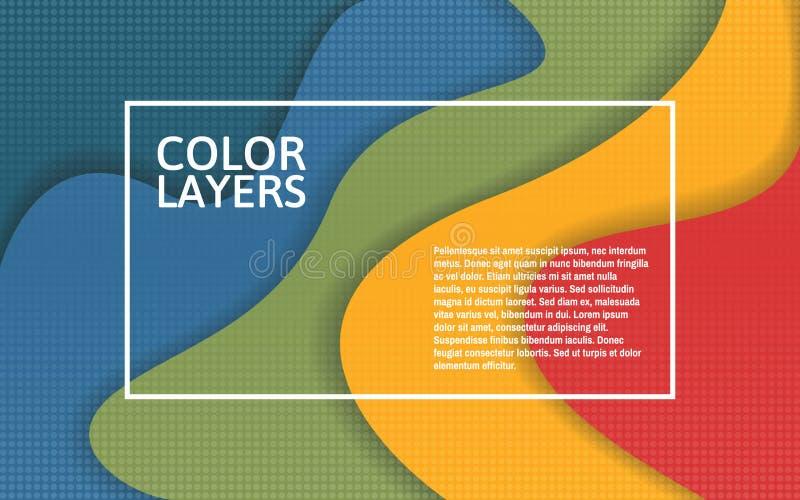 Papercut färglager Färgrik mång- lagermall med den vita ramen Idérikt baner för affischen, reklamblad, website royaltyfri illustrationer